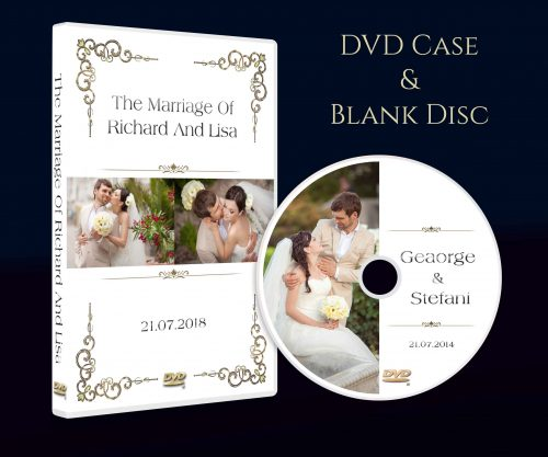 Personalised Wedding dvd case with blank disc. custom design