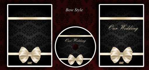 Bow style wedding presentation printed dvd case and disc