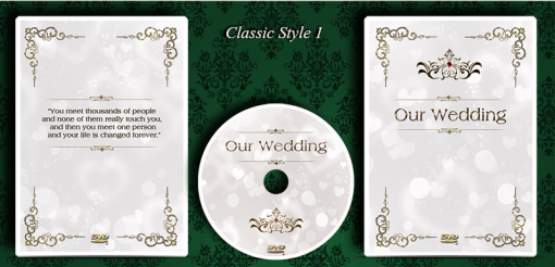 DVD cover design. Classic wedding style. Print service