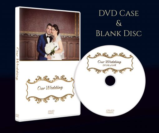 Personalised Wedding dvd case with blank disc. DVD storage box