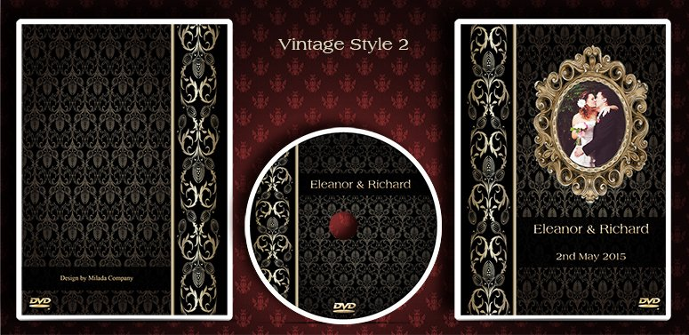 Vintage dvd case design. Cd cover design. Wedding cases