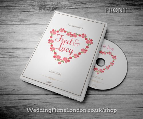 Best Wedding DVD case design & print service. Beautiful wedding disc cover. Wedding Films London Design N1