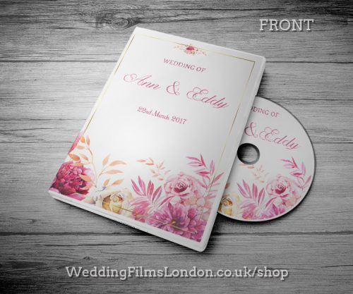 Classic Wedding DVD case design & print service. Beautiful wedding disc cover. Pink. Wedding Films London