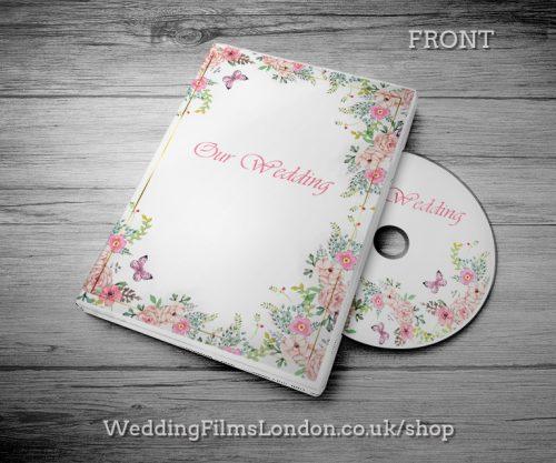 Classic Wedding DVD case design & print service. Beautiful wedding disc cover. Pink. Wedding Films London Design N2