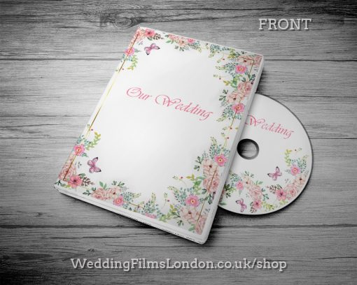 Classic Wedding DVD case design & print service. Beautiful wedding disc cover. Pink. Wedding Films London Design N2