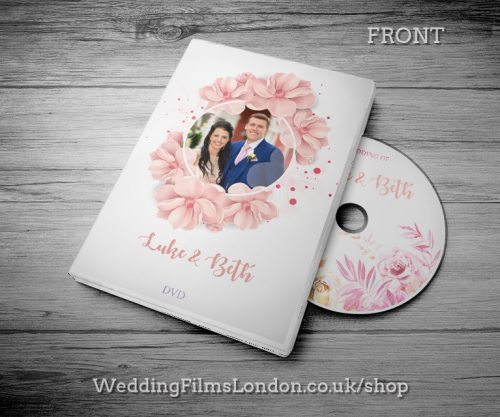 Classic Wedding DVD case design & print service. Beautiful wedding disc cover. Pink. Wedding Films London Design N4