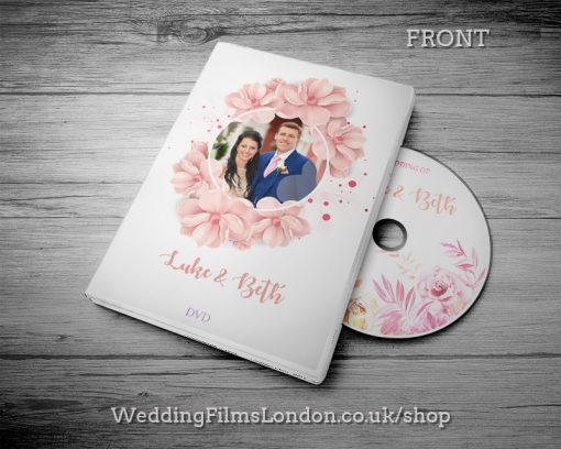 Classic Wedding DVD case design & print service. Beautiful wedding disc cover. Pink. Wedding Films London Design N4