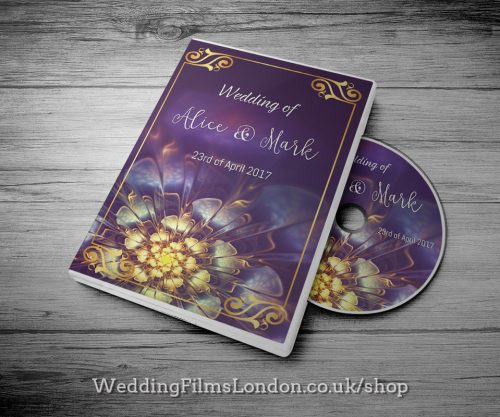 Classic Wedding DVD case design & print service. Beautiful wedding disc cover. With Love