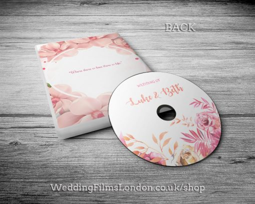 Classic Wedding DVD case, disc design & print service back. DVD box. Wedding Films London. Design N4