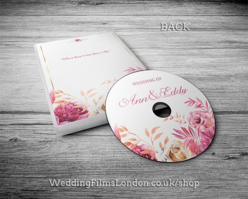 Classic Wedding DVD case, disc design & print service back. Pink. Wedding Films London