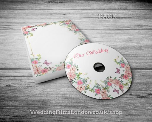 Classic Wedding DVD case, disc design & print service back. Pink. Wedding Films London. Design N2