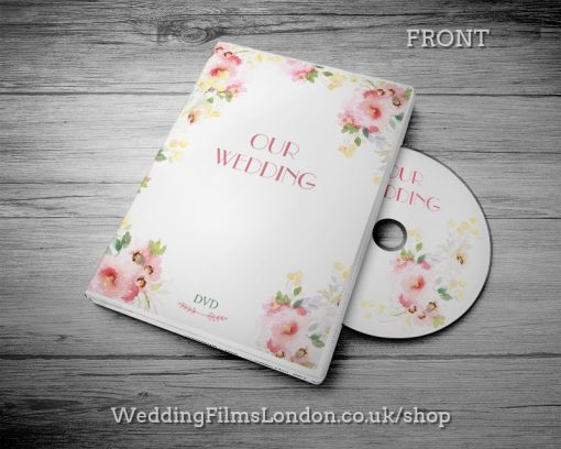 Elegant Wedding DVD case design & print service. Beautiful wedding disc cover. Wedding Films London Design N5
