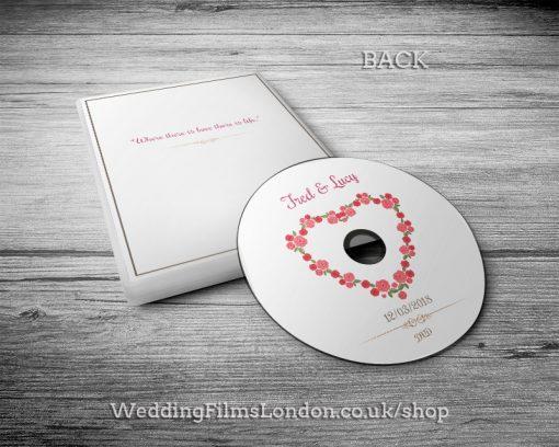 Simple Wedding DVD case, disc design & print service back. Heart shape flowers. Wedding Films London. Design N1