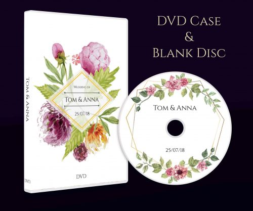 Personalised Wedding dvd cd case with blank disc